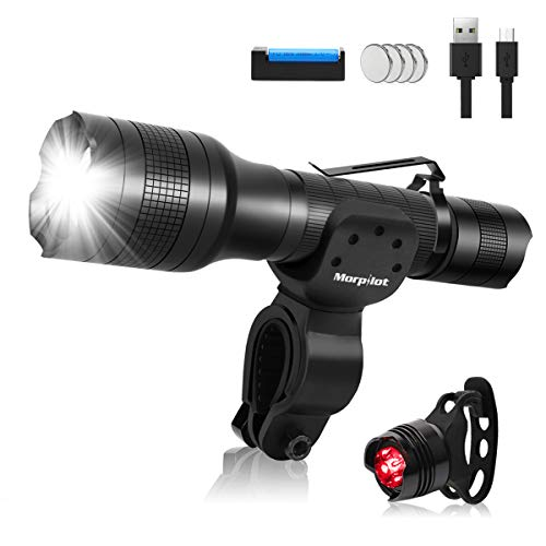 morpilot Rechargeable Bike Lights, Bicycle Lights Front and Back, Waterproof Bicycle Flashlight with 5 Modes, 360° Swivel, 700lm