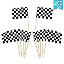 Faxco 200 Pieces 2.4'' Checkered Racing Flag Cupcake Toothpicks,Racing Flag Cake Toppers Decorations,Racing Flag Fruit Sticks