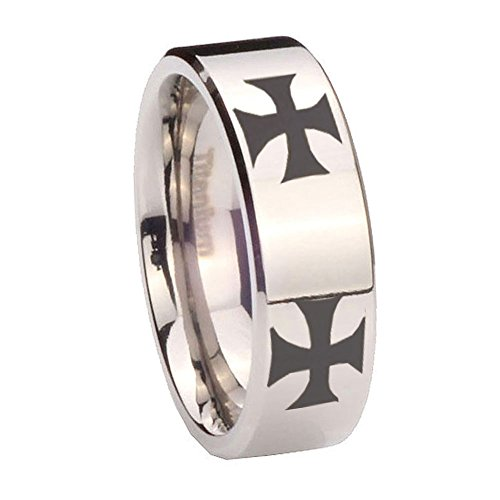8MM Titanium 4 Maltese Cross Silver Pipe Cut Men's Ring Size 8 Maltese Cross Mens Ring