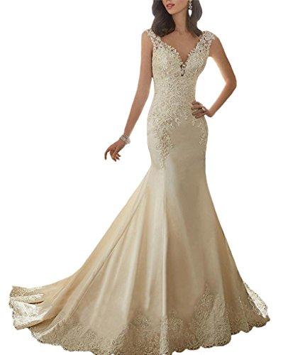 yilis-deep-v-neck-lace-applique-satin-mermaid-wedding-dress-bridal-gown-white8