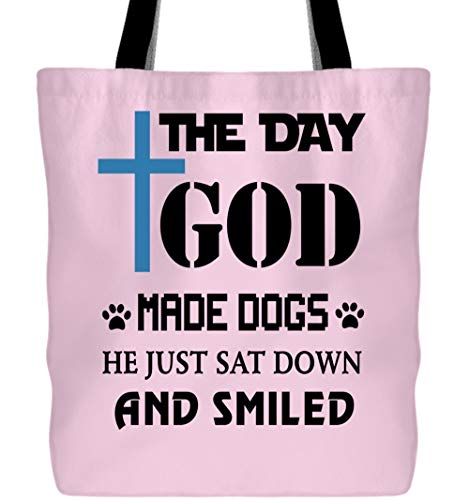 Tote Bags, The Day God Made Dogs Tote Bags (Tote Bags - Light Pink) ()