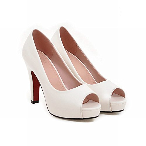 Carolbar Heel Women's Shoes Peep Color Solid High White Court Toe Platform Grace r1rxwX4