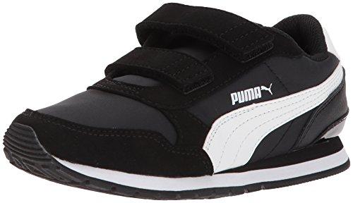 PUMA Unisex-Kids ST Runner NL Velcro Sneaker, Black White, 13 M US Little Kid
