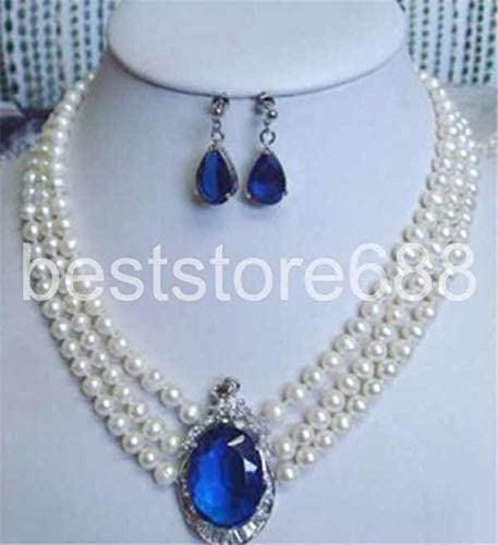 FidgetKute 3 Rows 7-8MM White Pearl Pendant Necklace Earrings Set