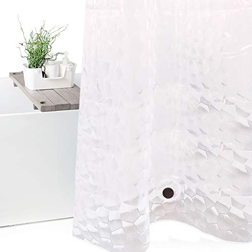 Wimaha 15 Gauge EVA Shower Curtain Liner Long, Waterproof Shower Liner for Bathroom Bath Stall, 72 x 78, Clear Watercube Design