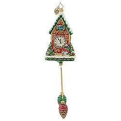 Christopher Radko Pinecone Time Zone Cuckoo Clock Glass Ornament