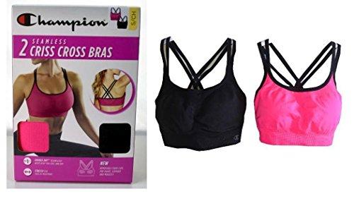 (Champion Women's Seamless Criss Cross Bras (2 pack) (Large, Black,pink))