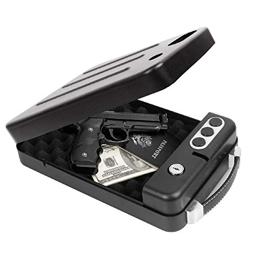 Jolitac Portable Steel Gun Safe Box Automatic Sensing Unlock, Metal Handgun Safe with Key Lock or 3 Digits Combination Safe Case, Black Smart Pistol Safe Handgun Security Quick Access for Car, Travel