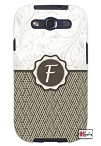 Monogram Initial Letter F Unique Quality Soft Rubber TPU Case for Samsung Galaxy S3 SIII i9300 - White Case