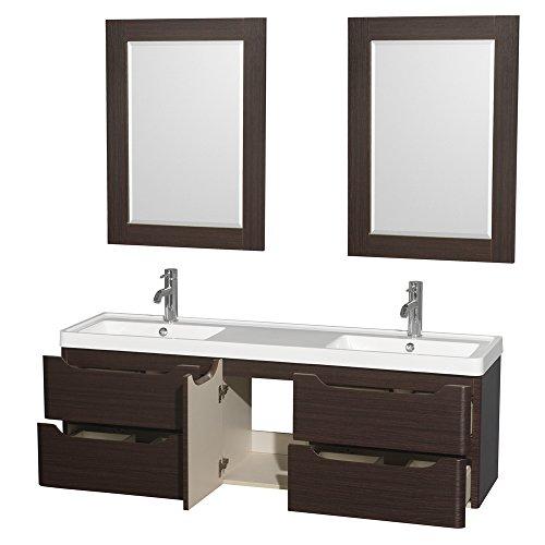 "delicate Wyndham Collection Murano 60"" Double Bathroom Vanity in Espresso, Acrylic-Resin Countertop, Integrated Sinks & 24"" Mirrors"