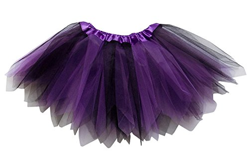 So Sydney Adult Plus Kids Size Pixie Fairy Tutu Skirt Halloween Costume Dress Up (M (Kid Size), Purple & Black) -