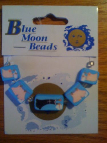 Blue Moon Beads Polymer Clay Blue Laundry Set of 5 - Polymer Blue Beads Moon Clay