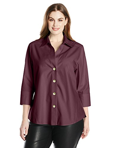 Foxcroft Women's Plus Size Non-Iron Three-Quarter Sleeve Shirt, Burgundy, 22W