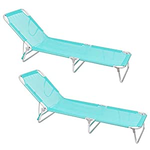 Pack de 2 tumbonas Playa Cama de 3 Posiciones de Aluminio y textileno de 190x58x25 cm (Aguamarina)