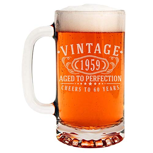 Vintage 1959 Etched 16oz Glass Beer Mug - 60th Birthday Aged to Perfection - 60 years old gifts