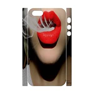 Customized Sexy Red Lips Breathing Smokes iPhone 5 3D Phone Case, Sexy Red Lips Breathing Smokes Personalized 3D Hard Back Cover Case for iPhone 5,iPhone 5s at Lzzcase