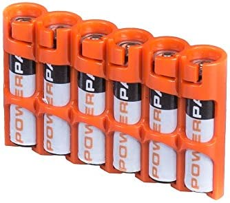 Storacell SLAAAORG by Powerpax SlimLine AAA Battery Caddy, Orange, Holds 6 Batteries