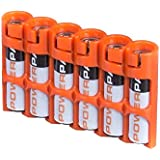 """Storacell by Powerpax Slim Line """"AAA"""" Battery Caddy, Orange - Holds 6 """"AAA"""" Batteries"""