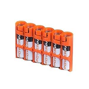 Storacell by Powerpax SlimLine AAA Battery Caddy, Orange, Holds 6 Batteries