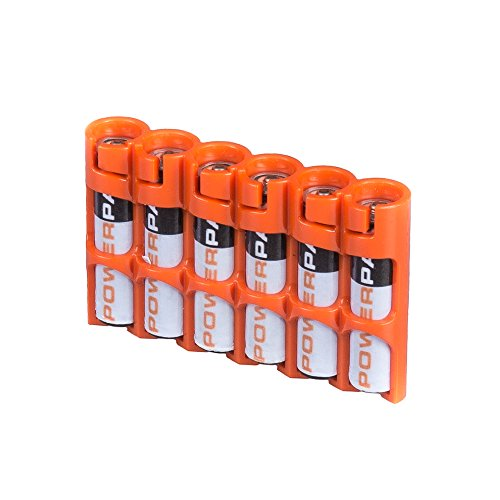 Storacell by Powerpax SlimLine AAA Battery Caddy, Orange, Holds 6 Batteries ()
