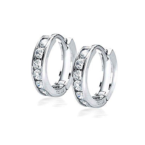 Bling Jewelry Tiny CZ Sterling Silver Huggie Hoop Earrings
