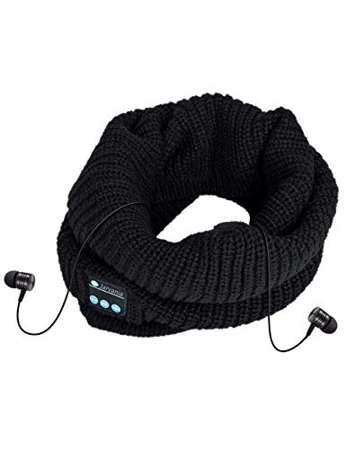 Bluetooth Scarf, Built-in Mic & Speaker Winter Scarf for Men,Women,Dual Layered Knitted Music Scarf, Fit Outdoor Sports, 2018 Unisex Fashin,Unique for Men Women (Black)