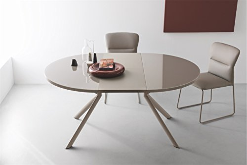Connubia Giove Round Extending Table with Tempered Glass Frosted Taupe Top, Metal Stained Matt Taupe Frame & Metal Stained Matt Taupe Legs