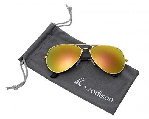 WODISON Classic Kids Aviator Sunglasses Reflective Metal Frame Children Eyeglass Silver Frame Blue Mix Green - The Aviator 2