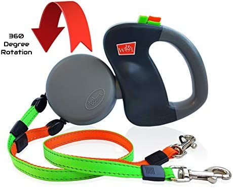 WIGZI (2) Two Dog Reflective Retractable Pet Leash – 360 Degree Zero Tangle Patent - Two Dogs Each up to 50 lbs and 10ft. Reflective Orange and Green Leads. Dual locking