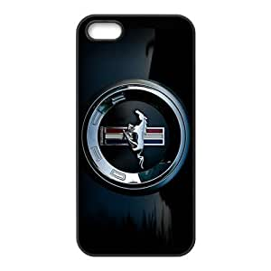 AZA RUBBER SILICONE Case for iPhone 5/5S, Ford Mustang Protective RUBBER iPhone Case-Black/White 6097392M65623700