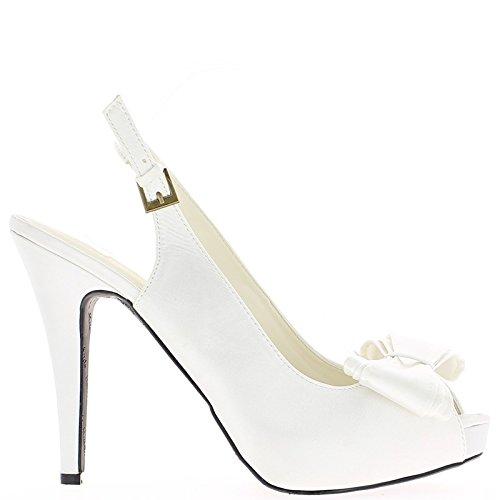 Grande sandali in raso bianchi Dimensioni piattaforma con nodo e tacco cm 14