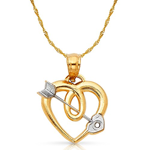 14K Two Tone Gold Heart With Cupid Arrow Charm Pendant with 0.9mm Singapore Chain Necklace - 16