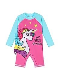 XIAOFEIGUO Baby Girls Swimsuit One Piece Long Sleeve Rash Guard Shirts Quick-Dry Bathing Suit