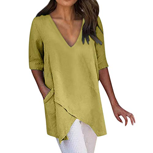 Womens V Neck Summer Tunic Tops Short Sleeve Casual Loose Asymmetrical Blouse T-Shirt Plus Size Yellow ()