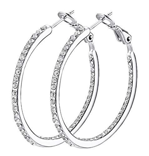 Hoop Earrings, Cubic Zirconia White Gold plated Hoop Earrings For Womens, Rhinestone Girls Earings ()