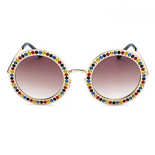 marca marco damas estuche Wear diamantes negro mujer para redondas de lentes Elegante de imitación diseñador Eye Gafas con con Marrón de tamaño gran sol azul de grande para moda qOpUwCZx