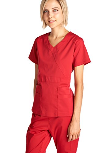 Dagacci Medical Uniform Women's Scrub Set Stretch and Soft Y-Neck Top and Pants, Red, S by Dagacci Medical Uniform (Image #2)