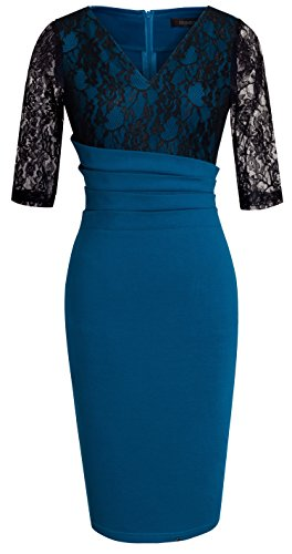 HOMEYEE Womens Vintage Cocktail Bodycon
