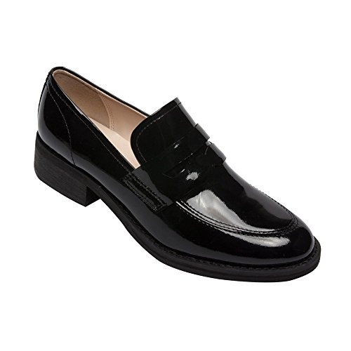 PIC/PAY Eric - Women's Patent Penny Loafers - Stacked Leather Block Heel Casual Slip-On Flat Black Patent (Patent Penny Loafer)