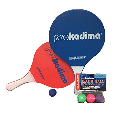 Pro Kadima Paddle Raquet Ball Set - Solid Colors - Bundle Pack (4 Balls Included) (Blue/Red)