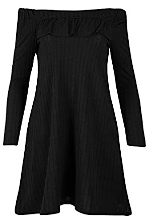 Be Jealous New Womens Flared Ruched Stretchy Ribbed Off The Shoulder Bardot  Smock Mini Swing Dress UK Plus Size 8-22  Amazon.co.uk  Clothing a0d85e990