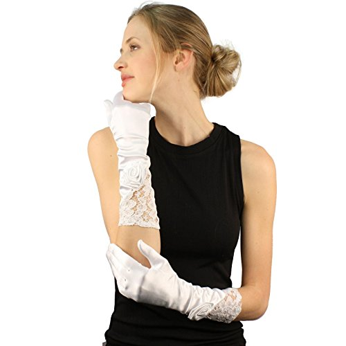 Fancy 3D Rose Victorian Floral Lace Satin Dressy Full Long Church Gloves White