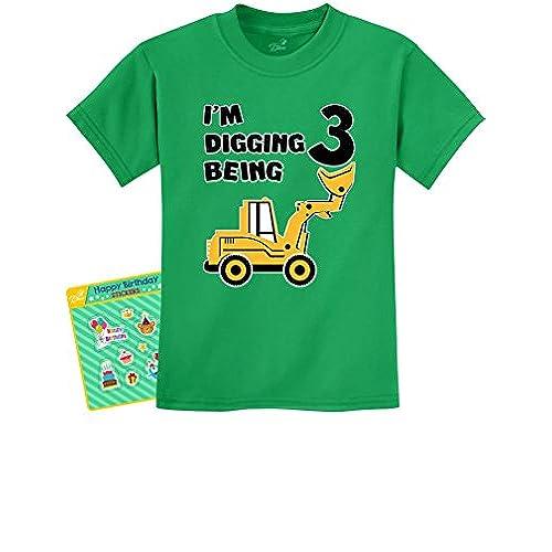 Teestars 3rd Birthday Bulldozer Construction Party 3 Year Old Boy Toddler Kids T Shirt
