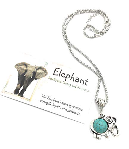 Smiling Wisdom - Elephant Turquoise Necklace & Totem Animal Card Gift Set - Her Woman Tween Teen BFF Gift - Smart, Strength, Gratitude, Memory - Blue & Silver - New