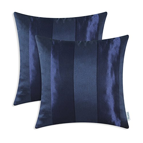 CaliTime Pack of 2 Cushion Covers Throw Pillow Cases Shells for Couch Sofa Home Decoration Modern Shining & Dull Contrast Striped 18 X 18 Inches Navy Blue