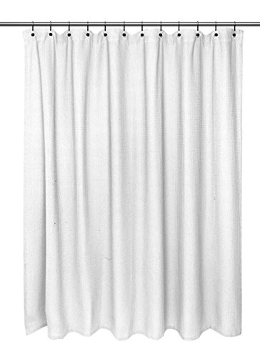 "Hotel Quality Waffle Weave 100% Cotton Extra Long Shower Curtain - 72"" Wide x 84"" Extra Long - White"