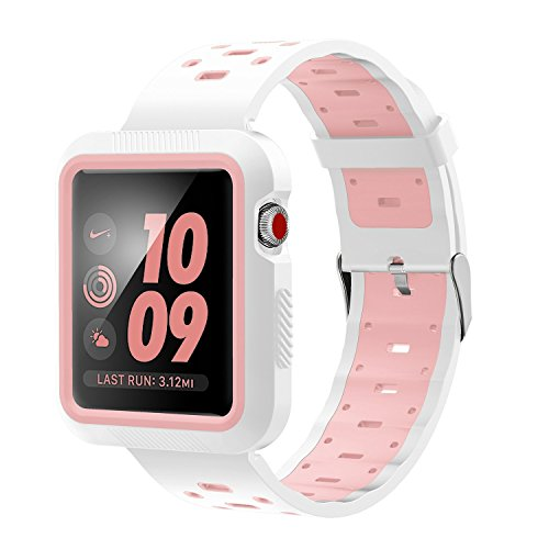 EloBeth Compatible Apple Watch Band 38mm with Shock Resistant Protective Case Soft Silicone Sport Strap iWatch Band for Apple Watch Band Series 3/2/1 Nike+ Sport Edition(White/Pink, 38mm)