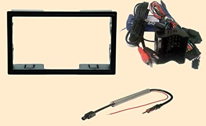radio stereo install dash kit double din + steering control wiring + canbus wire  harness +