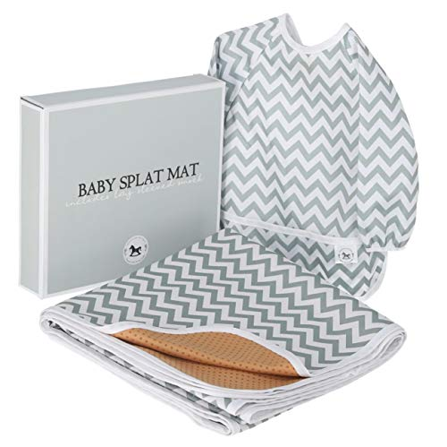 Baby Splat Mat for Under High Chair Floor Mat - Baby Feeding Set, Splash Mat, Waterproof Floor Mat - Anti Slip, Washable, Extra Large (51 Inch) + Baby Bib with Sleeves - Chevron from O'ranch