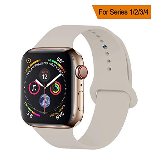 YANCH Compatible with for Apple Watch Band 42mm 44mm, Soft Silicone Sport Band Replacement Wrist Strap Compatible with for iWatch Nike+,Sport,Edition,M/L,Stone